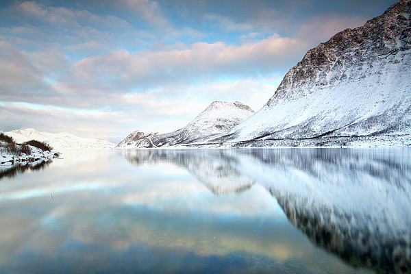 Mountains In Fjord Print by Sandra Kreuzinger