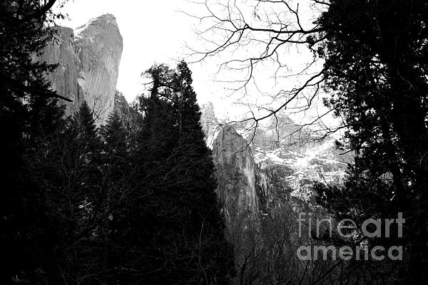Mountains Of Yosemite . 7d6213 . Black And White Print by Wingsdomain Art and Photography