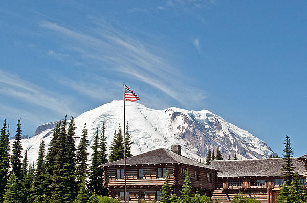 Roger Reeves  and Terrie Heslop - Mt. Rainier behind Sunrise Visitor Station