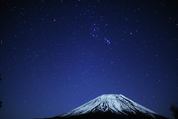 Mt.fuji And Winter Stars Print by Takeshi.K