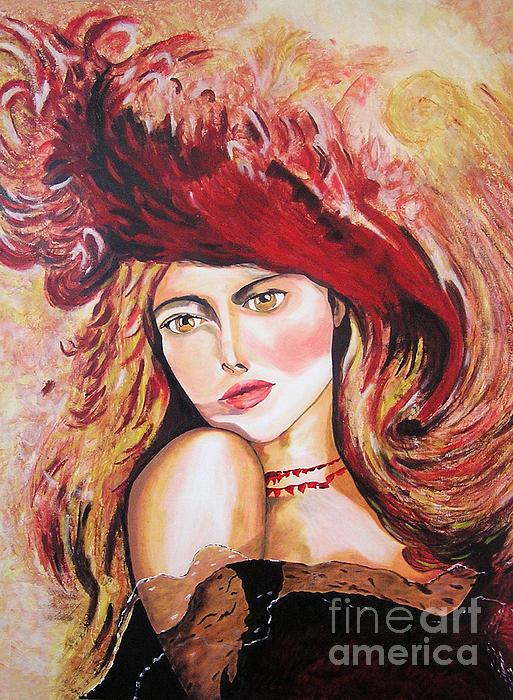 Gustavo Rumbaut - Mujer de epoca con sombrero