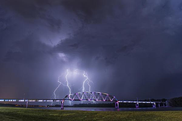Muscatine Bridge Lightning Print by Paul Brooks