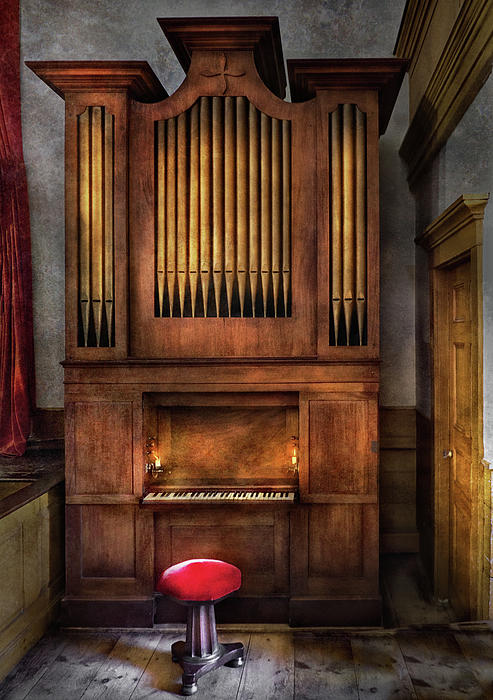 Music - Organist - What A Big Organ You Have  Print by Mike Savad