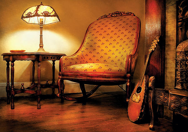 Music - String - The Chair And The Lute Print by Mike Savad