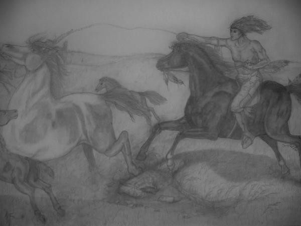 Mustang Roundup Print by Jose Cabral