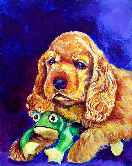 My Froggy - Cocker Spaniel Puppy Print by Lyn Cook