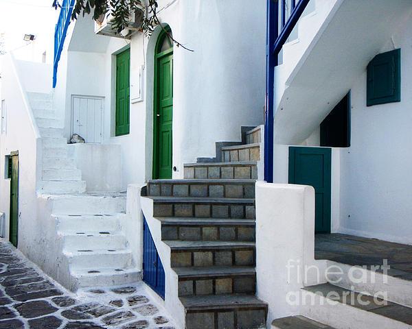 Mykonos Stairs Print by Rebecca Margraf