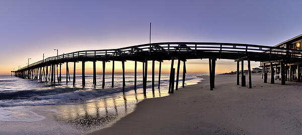 Nags Head Fishing Pier At Sunrise - Outer Banks Scenic Photography Print by Rob Travis