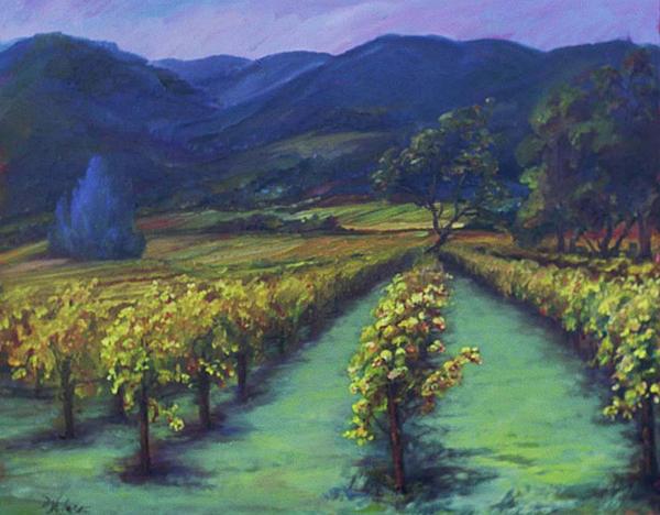 Napa Valley Vineyards Down Silverado By Deirdre Shibano Print by Deirdre Shibano