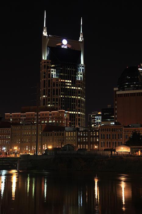 Nashville Skyline At Night Print by Sam Amato