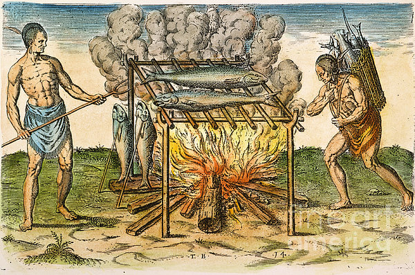 Native Americans: Barbecue, 1590 Print by Granger