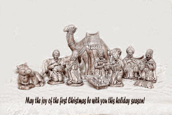 Nativity Scene In Sepia Print by Linda Phelps