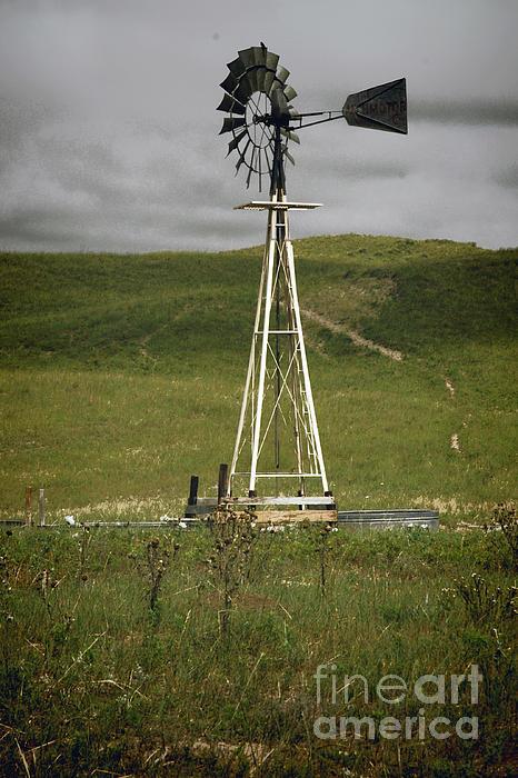 Nebraska Windmill-stormy Day Print by Michael Flood