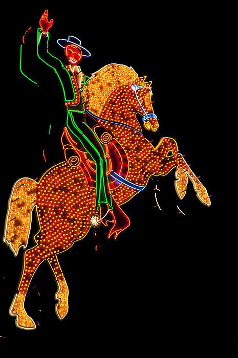 Neon Cowboy Las Vegas Print by Garry Gay