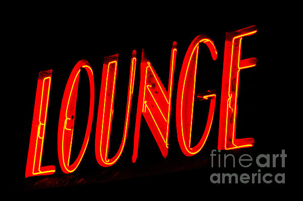 Neon Lounge Sign Print by AdSpice Studios