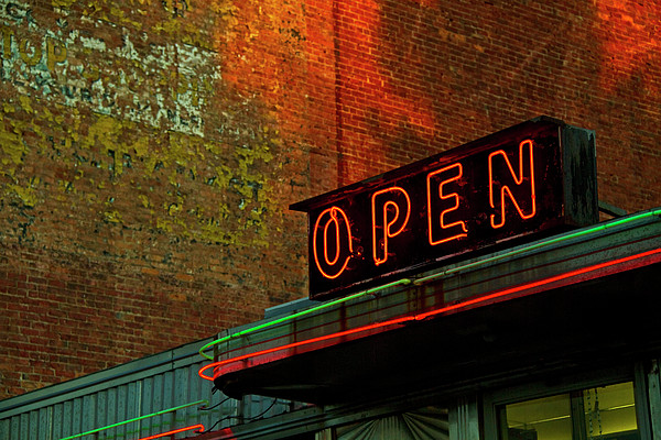Neon Open Sign On Old Diner Hotel Print by Matt Champlin