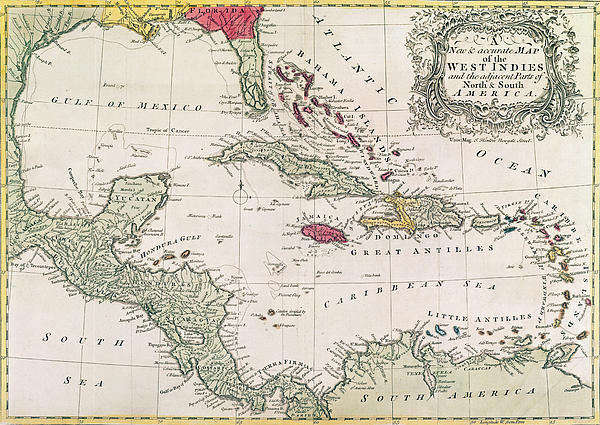 New And Accurate Map Of The West Indies Print by American School