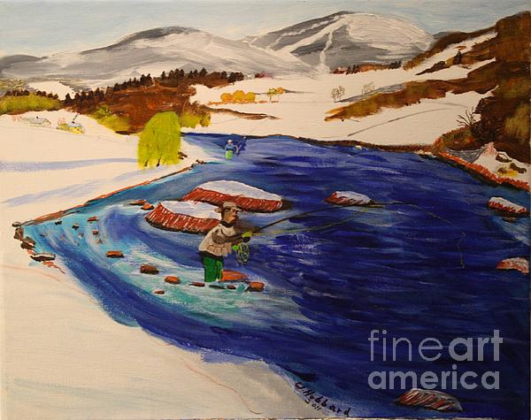 New Hampshire Springtime - Skiing And Trout Fishing In The White Mountains Print by Bill Hubbard