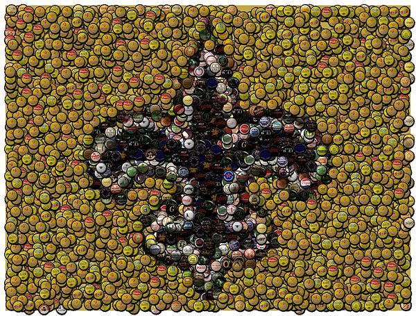 New Orleans Saints  Bottle Cap Mosaic Print by Paul Van Scott