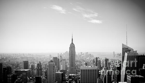 New York City - Empire State Building Panorama Black And White Print by Thomas Richter