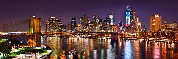 New York City Brooklyn Bridge And Lower Manhattan At Night Nyc Print by Jon Holiday