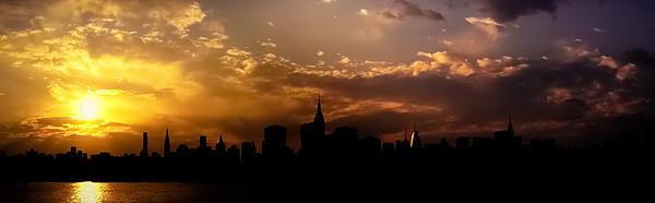 New York City Skyline At Sunset Panorama Print by Vivienne Gucwa