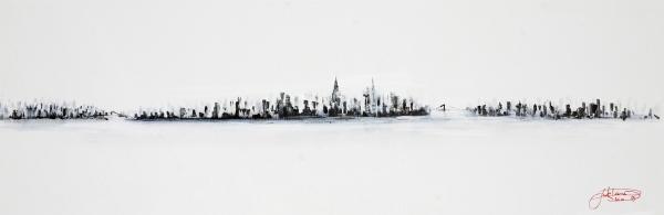 New York City Skyline Black And White Print by Jack Diamond