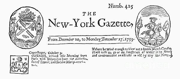 New York Gazette, 1733 Print by Granger