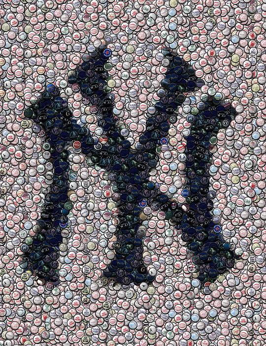 New York Yankees Bottle Cap Mosaic Print by Paul Van Scott