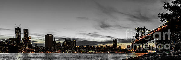 New Yorks Skyline At Night Colorkey Print by Hannes Cmarits