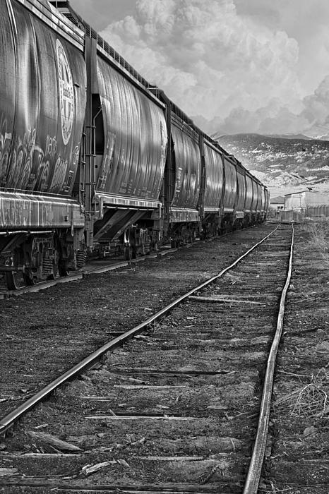 Next Tracks In Black And White Print by James BO  Insogna