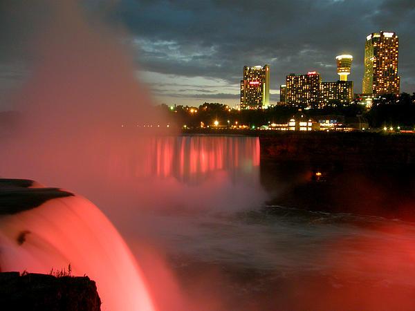 Niagara Falls At Night Print by Mark J Seefeldt