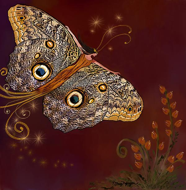 Night Butterfly  Print by Thanh Thuy Nguyen