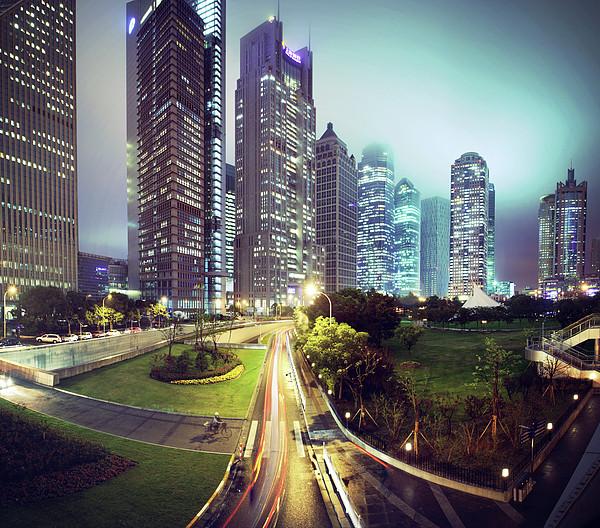 Night Fog Over Shanghai Cityscape Print by Blackstation