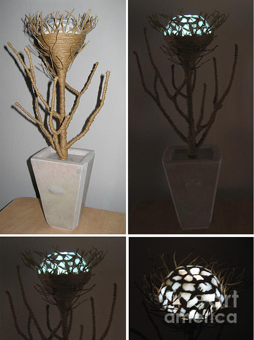 Night Light Mosaic Flower Marble Sculpture