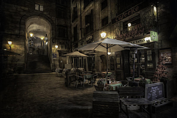 Night Plaza Print by Torkil Storli