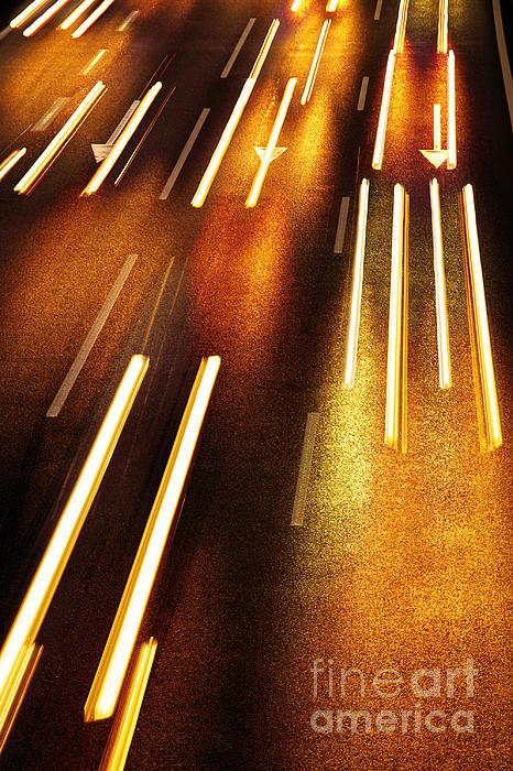 Night Traffic Print by Carlos Caetano