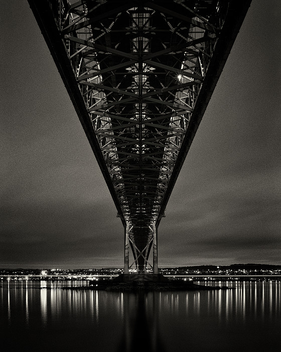 Night View Of Forth Road Bridge Print by Mark Voce Photography