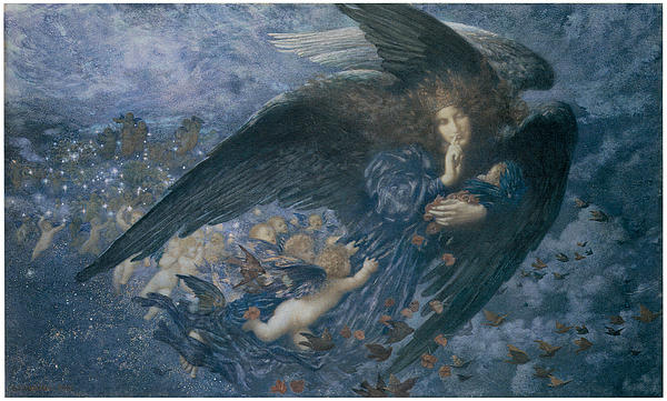 Night With Her Train Of Stars Print by Edward Robert Hughes