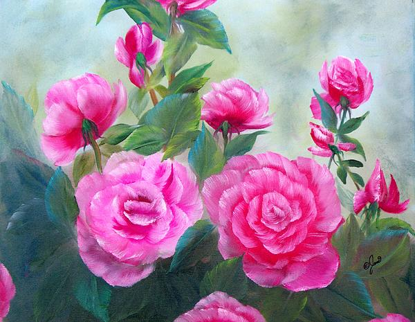 Nine Pink Roses Print by Joni McPherson