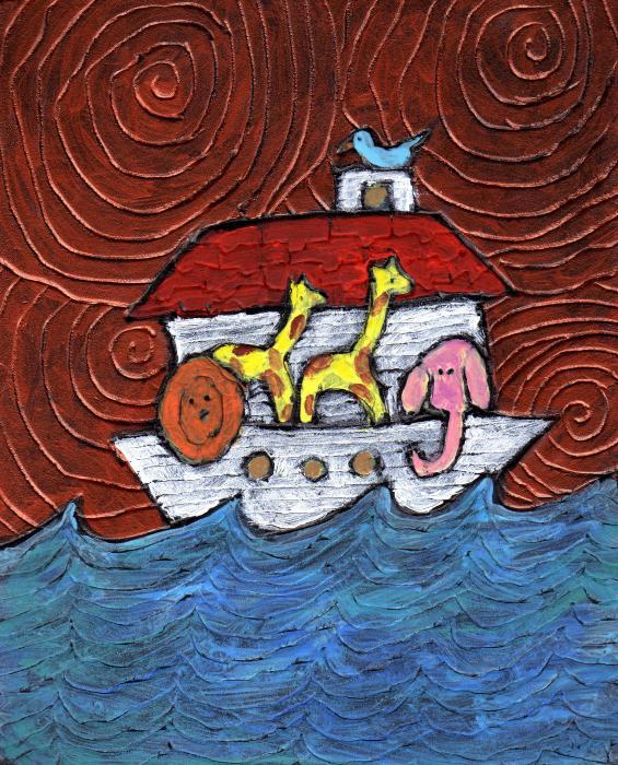 Noahs Ark With Blue Bird Print by Wayne Potrafka