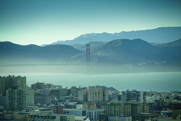 North Beach And Golden Gate Print by Hal Bergman Photography