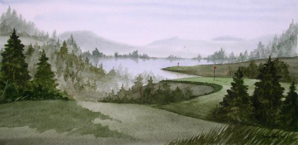 Northern Lake Golf Print by Sean Seal