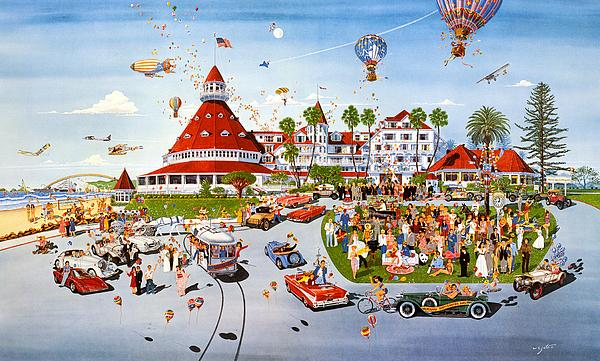 Nostalgia Hotel Del Coronado Painting by John Yato - Nostalgia ...