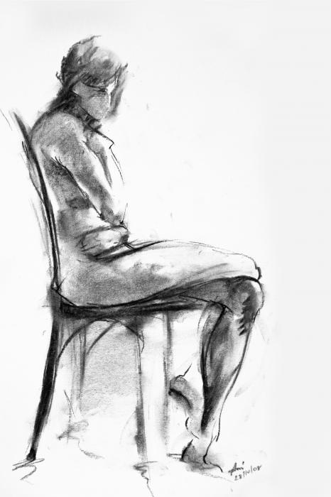 Nude 1 Drawing - Nude 1 Fine Art Print - Ani Gallery