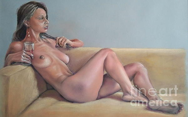 Nude And Red Wine Print by Ahto Laadoga
