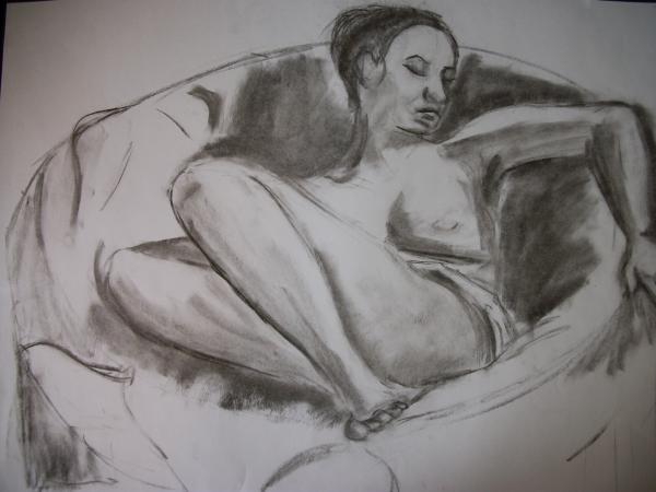 Nude In Chair Print by Adam Davis