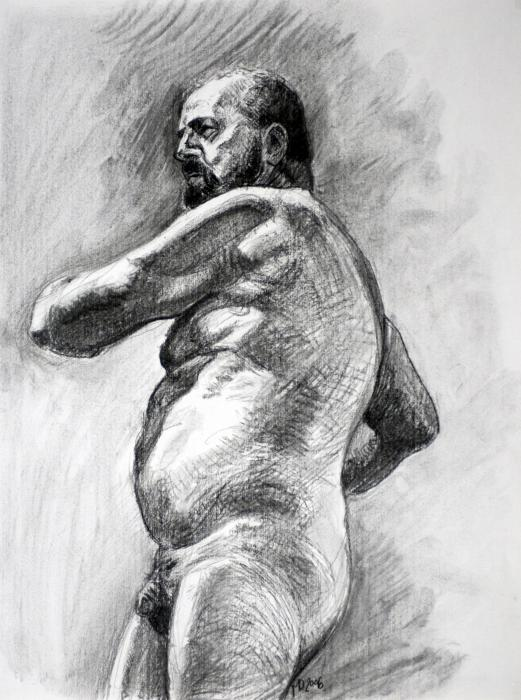 Nude Male Study1 Drawing - Nude Male Study1 Fine Art Print - Mats Olsson