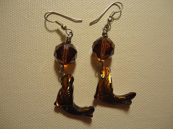 Nude Mermaid Earrings Print by Jenna Green