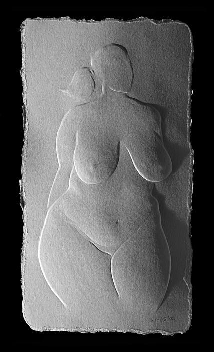 Nude Relief Sketch  Print by Suhas Tavkar